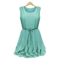Green Pleated Chiffon Mini Dress