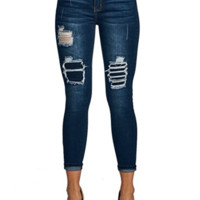 Blue Age Women's Mid Rise Destroyed Stretch Skinny Jeans