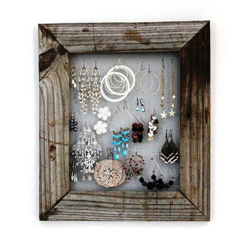 Earring Holder Frame, Distressed, Reclaimed Wood, natural, beach, cottage chic, wedding, christmas