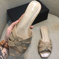 YSL Yves Saint Laurent 2018 chunky heel with women's shoes open toe sandals F-AHD-HNXG-ZD apricot