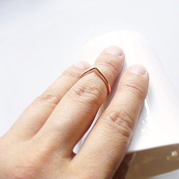 Copper Ring Above the Knuckle, Simple Triangle Ring band, Mini Triangle ring, Bohemian Knuckle Ring