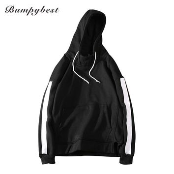 men Solid color stripe Hoodies Cotton coats Men hip hops Sweatshirts Men coats
