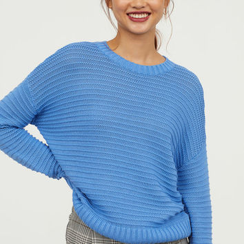 Textured-knit Sweater - Sky blue - Ladies | H&M US
