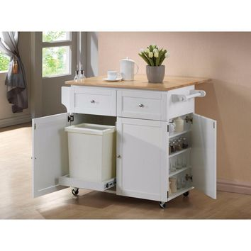 Modish Dual Tone Wooden Kitchen Cart, Brown And White
