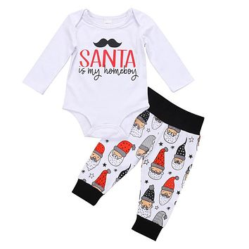Cute Newborn Clothes Set Baby Boys Girls Cotton Tops Jumpsuit + Pants Outfits Infant Christmas Clothing Set