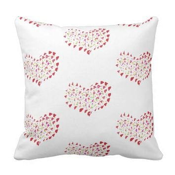 Big Bright Red Hearts Love Cushion Pillow