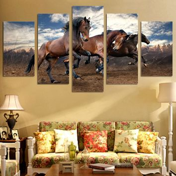 3 running horses 5 pcs  picture Wall Art on Canvas Panel Picture Print