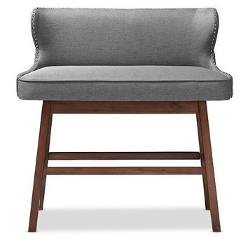 Baxton Studio Gradisca Modern and Contemporary Grey Fabric Button-tufted Upholstered Bar Bench Banquette Set of 1