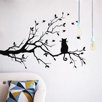 Black Tree Wall Stickers Cat Bird Branch Leaf Home Decor Decals Wall PVC Art DIY Wallpaper For Kids Rooms 2016 New Arrival