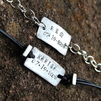 His & Hers Name Bracelets With Date - Couples Bracelets - Personalized Bracelet