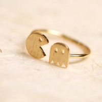 Tiny Pacman adjustable size ring. CHOOSE YOUR COLOR. Gold or Silver