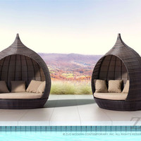 Martinique Beach Day Bed Brown Aluminum Frame