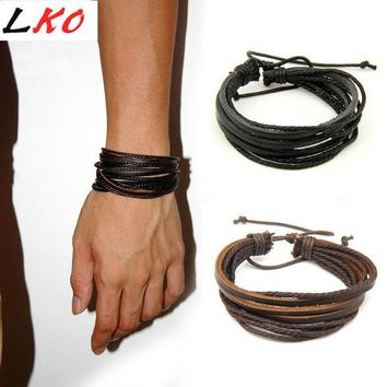 DCCKJG2 Newly Design HOT Wrap Leather Bracelets & Bangles For Men And Women Black And Brown Braided Rope Fashion Man Jewelry
