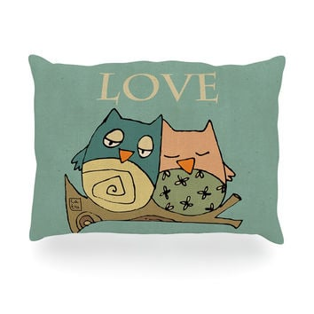 "Carina Povarchik ""Lechuzas Love"" Owls Green Oblong Pillow"