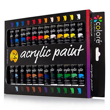 Colore Acrylic Paint Set - Perfect For Painting Canvas, Wood, Clay, Fabric, Nail Art And Ceramic - Rich Pigments With Lasting Quality - Great For Beginners, Students & Professional Artist - 24 Colors
