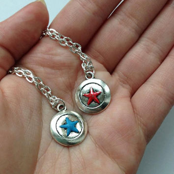 BFF Stucky Necklaces - Steve Rogers & Bucky Barnes Friendship OTP Best Friends - Captain America, Winter Soldier - Marvel Comic Book Jewelry