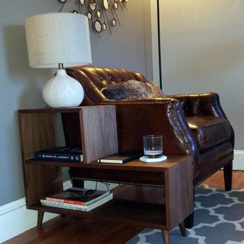 Mid Century Side Table / Bookshelf, Modern Side Table, Modern Table, Mid Century Nightstand, Mid Century Modern Side Table, End Table