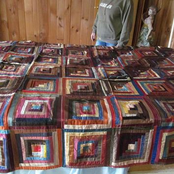 Antique Silk Log Cabin Quilt Antique Victorian Quilts Romantic Bedroom Decor Primitive Quilts 19th Century textiles Farmhouse Bedroom Decor
