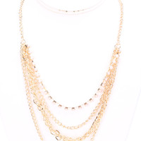 Light Pink Rhinestone Draped Cute Summer Necklace