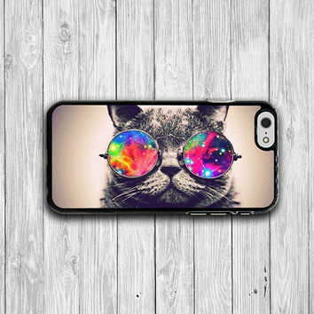 Hipster Cat Wear Galaxy iPhone 6 Cases, Vintage Funny Animal iPhone 6 Plus Cover, Phone 5/5S, iPhone 4/4S Hard Case, Lovely Accessories Gift