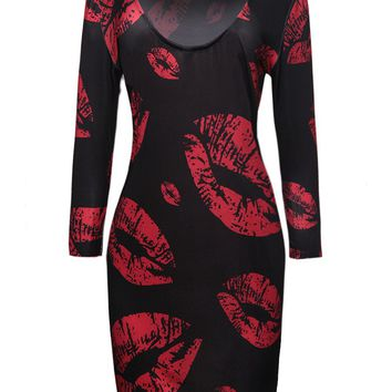 Casual Scoop Neck Lip Printed Bodycon Dress