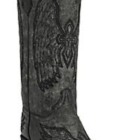 Corral Circle G Ladies Distressed Gray/Black w/Black Stitched Winged Cross Snip Toe Western Boots