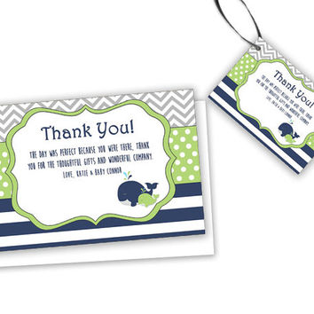 Lime Whale Baby Shower Tags - Party Favor Tag - Whale Thank You Cards - Trendy Modern Chevron Stripes - Nautical Baby Whales - Lime Green