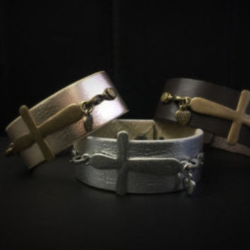 Thick leather strap bracelets cross with charm
