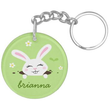 Cute bunny rabbit peeking out personalized name keychain
