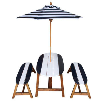Teamson Kids - Kids Surfboard Outdoor Table and Bench Set with Umbrella - Navy Blue/ White
