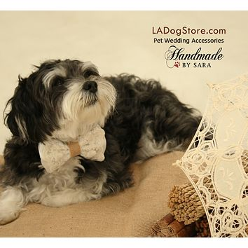 White Dog Bow Tie Collar, Lace and Burlap, Rustic, Country wedding