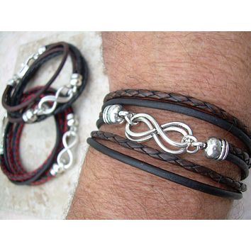 Double Infinity Triple Wrap Braided Leather Bracelet