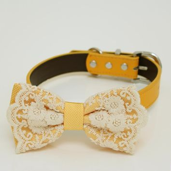 Yellow Dog Bow Tie attached to collar, Bow tie with a charm, dog birthday