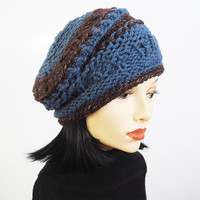 Woman knit hat - Blue crochet beanie - Chunky knit hat - Teen girl hat - Woman winter hat - OOAK knit cap - Ready to ship - Warm winter hat