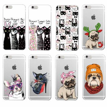 Dog Puppy Cat Phone Case cover for Iphone Samsung Phones Pug Bulldog Bunny ...