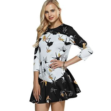 Paper Crane Print Drop Waist Mini Dress
