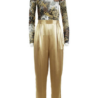 "Gold Silk Pants Vintage Nordstrom High Waisted Pants Tapered Pleated Trousers Shiny Metallic 80s Clothing Women's Size- SMALL 26 - 30"" Waist"