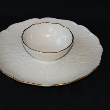 Vintage Lenox Chip and Dip Bowl Plate Server , Lenox Greenfield Ivory Chip Dip Tray Elegant Occasions Weddings Anniversary 24 K Gold Rims
