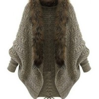 Western Winter Bat Sleeve Fur Collar Women Cardigan