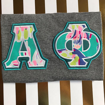 Sorority Double Letter Shirt Lilly Pulitzer Fabric - Sigma Kappa