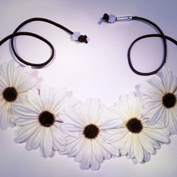 White Daisy Flower Headband, Flower Crown, Flower Halo, Festival Wear, EDC, Ultra Music Festival, Rave