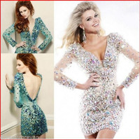 YZ Beads Crystal Sexy Short Diamond Dresses