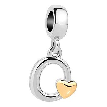 QueenCharms Initial AZ Letter Charm Golden Heart Alphabet Dangle Beads For Bracelets amp Necklaces