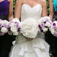 All white peony bouquets with lavender roses and purple stock - Google Search