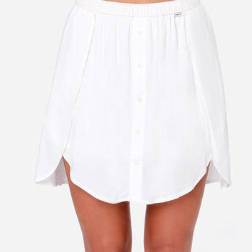 White Asymmetric Hem Mini Skirt with Button Details