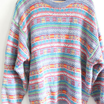 Stripy Pattern Loose 90s Sweater