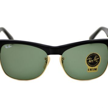 RayBan RB3016 Clubmaster Classic W0365 Black Frame/Green Classic G-15 Lenses