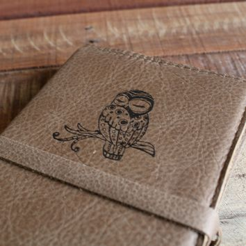 Sleepy Owl Leather Journal