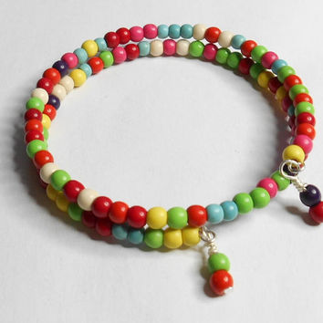 Memory Wire Multicolor Turquoise Gemstone Red Green Yellow Blue Handmade Bracelet