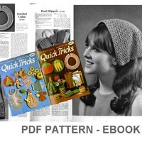 PDF Crochet Patterns, Vinatage Crochet eBook, Pot holders, coasters, purse, placemat, no.020